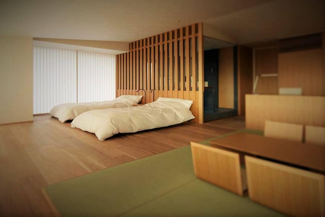 minimalist tarzda döşenmiş otel odası
