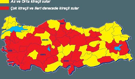 Türkiye kireçli su haritası