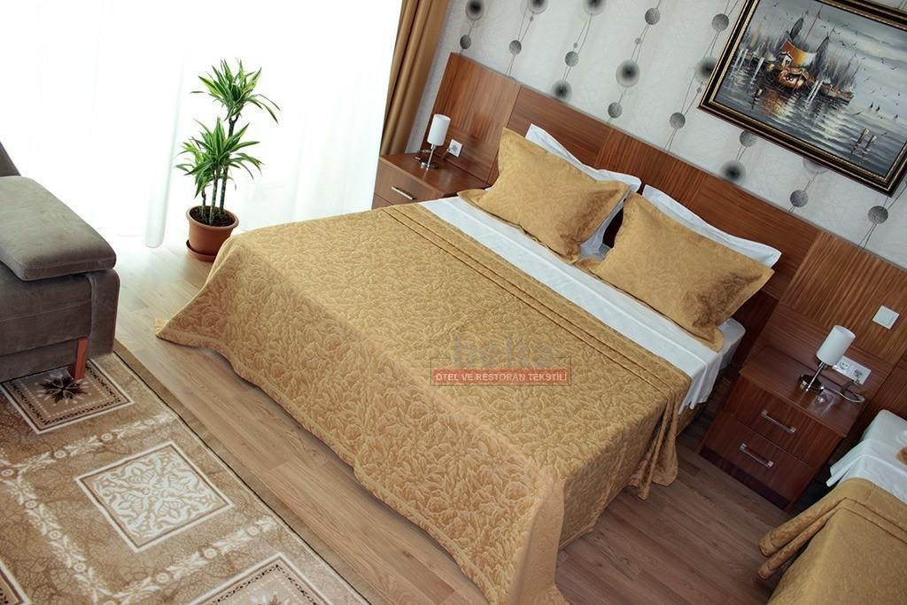 Hardal rengi batik desen yatak örtüsü